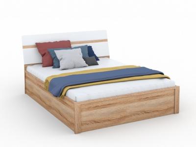 Кровать Дакота 160х200 с подъемным механизмом Сонома/белый глянец