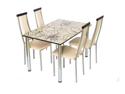 Стол со стеклом Глория бежево-коричневый