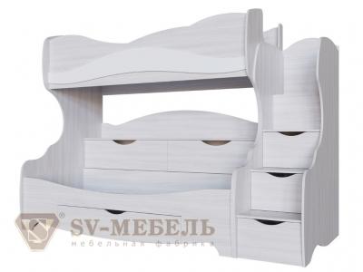 Двухъярусная кровать Акварель-1 800х200 2515х1920х1150 белая матовая
