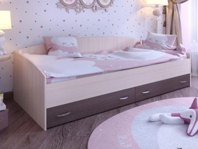 Кровать с выкатными ящиками Ярофф дуб-венге