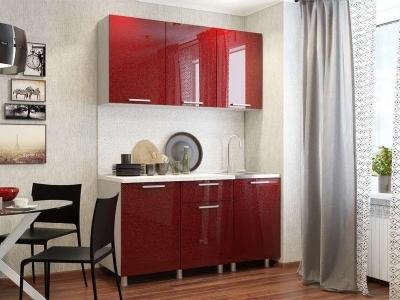 Кухонный гарнитур блестки Гранат 1500