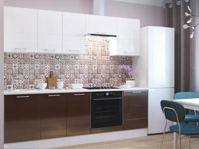 Кухня Люкс белый глянец-шоколад