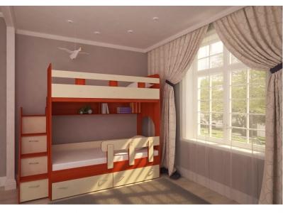 Кровать двухъярусная Юниор 1 с бортиком вишня-дуб